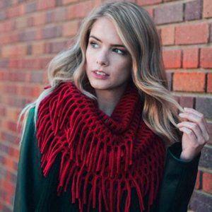 Burgandy Fringe Knit Crochet Infinity Scarf